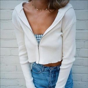 Brandy Melville white double zip up Arden hoodie